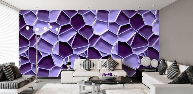 Design Tapeten geometrische Formen in Lila die Raumdimensionen sprengen