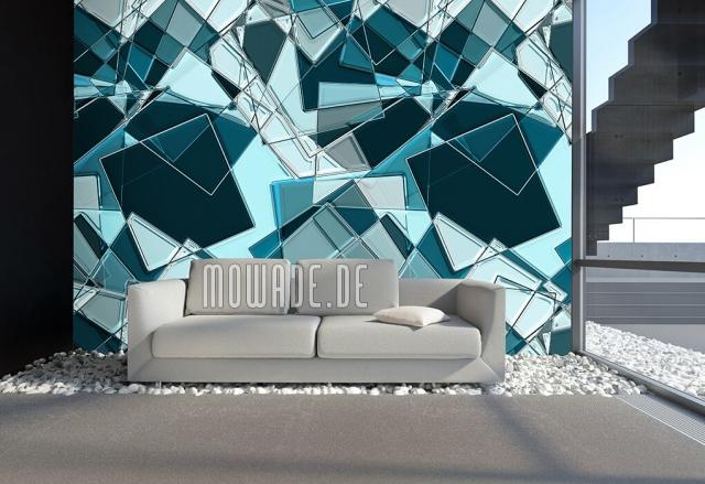 Design Tapeten geometrische Formen in verschiedenen Blaunuancen ein visuelles Statement