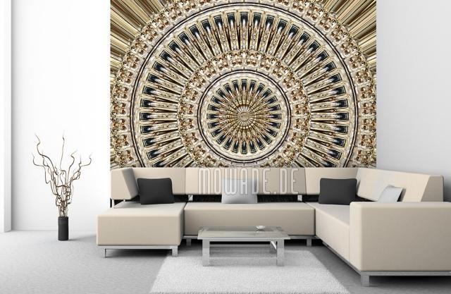 Design Tapeten in Beige mit Goldfäden interessantes Motiv ausgefallen stilvoll