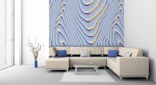 Design Tapeten in Hellgrau mit eleganten Goldakzenten sehr extravagant und schön