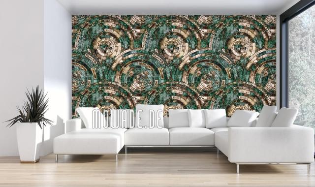 Design Tapeten in Türkis Hellbraun und Gold individuelles Design großgeschrieben