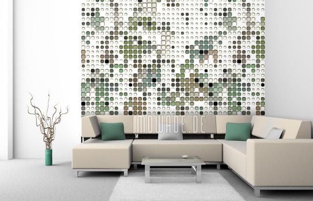 Design Tapeten kleine und größere Kreise in Beige und Grasgrün