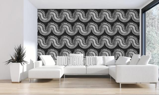 Design Tapeten wellenförmiges Muster in Grau auf schwarzem Hintergrund